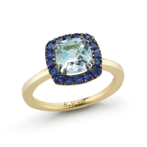 "A & Furst ""Dynamite"" Small  Ring with Blue Topaz and Blue Sapphires, 18k Yellow Gold and Black Rhodium."
