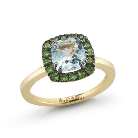 "A & Furst ""Dynamite"" Small  Ring with Blue Topaz and Tsavorite, 18k Yellow Gold and Black Rhodium."