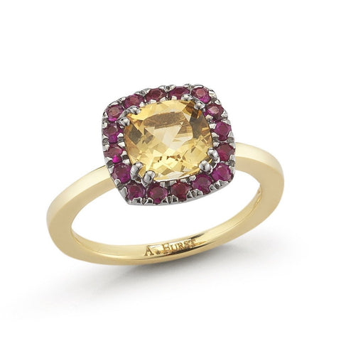 "A & Furst ""Dynamite"" Small  Ring with Citrine and Rubies, 18k Yellow Gold and Black Rhodium."