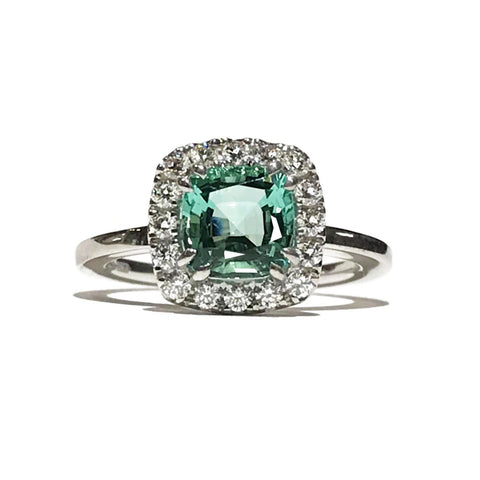 A & Furst - Dynamite - Stackable Ring with Mint Green Tourmaline and Diamonds, 18k White Gold