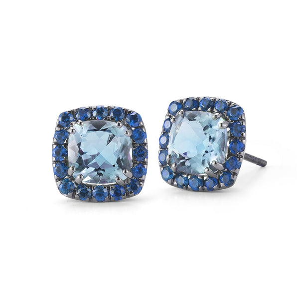 A & Furst - Dynamite - Stud Earrings with Blue Topaz and Blue Sapphires, 18k Blackened Gold