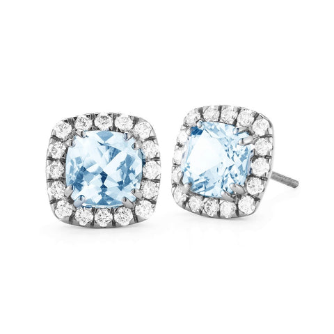 A & Furst - Dynamite - Stud Earrings with Blue Topaz and Diamonds, 18k Blackened Gold.