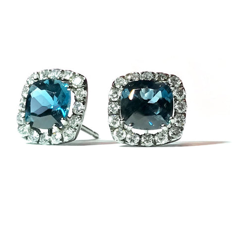 "A & Furst ""Dynamite"" Stud Earrings with London Blue Topaz and Diamonds, 18k White Gold."