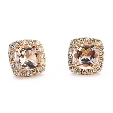 "A & Furst ""Dynamite"" Stud Earrings with Morganite and Diamonds, 18k Rose Gold."