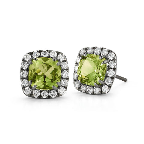 "A & Furst ""Dynamite"" Stud Earrings with Peridot and Diamonds, 18k Blackened Gold."