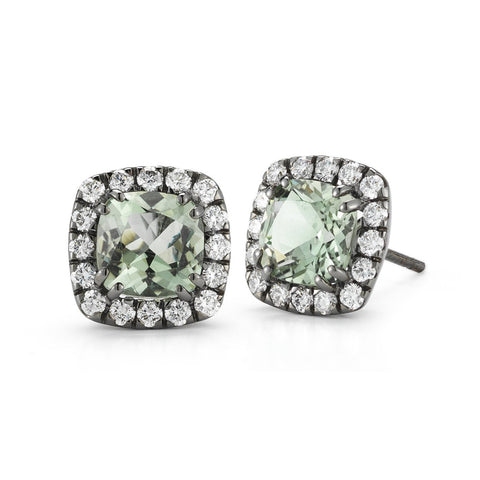 "A & Furst ""Dynamite"" Stud Earrings with Prasiolite and Diamonds, 18k Blackened Gold."