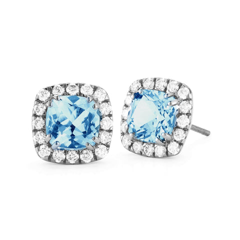 A & Furst - Dynamite - Stud Earrings with Swiss Blue Topaz and Diamonds, 18k Blackened Gold