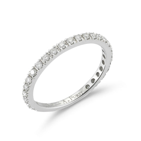 "A & Furst ""France"" Band Ring with White Diamonds on the 3/4, French-set, 18k White Gold."