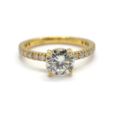 A & Furst - France Engagement Ring with Round Diiamond 1.33 carat, 18k Yellow Gold