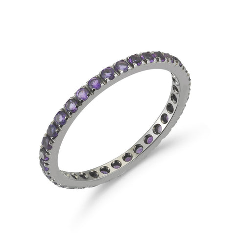 "A & Furst ""France"" Eternity Band Ring with Amethyst all around, French-set, 18k Blackened Gold."