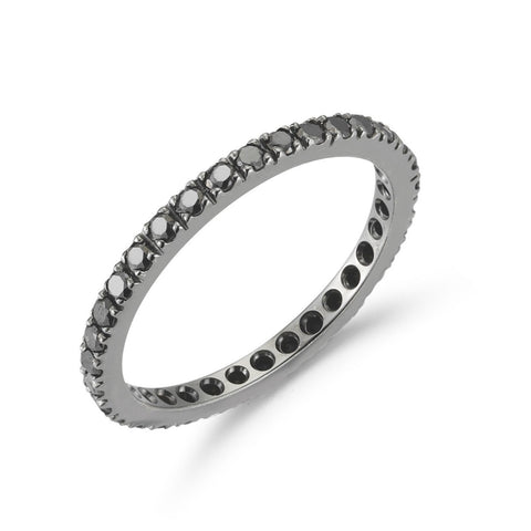 A & Furst - France Eternity Band Ring with Black Diamonds all around, French-set, 18k Blackened Gold.