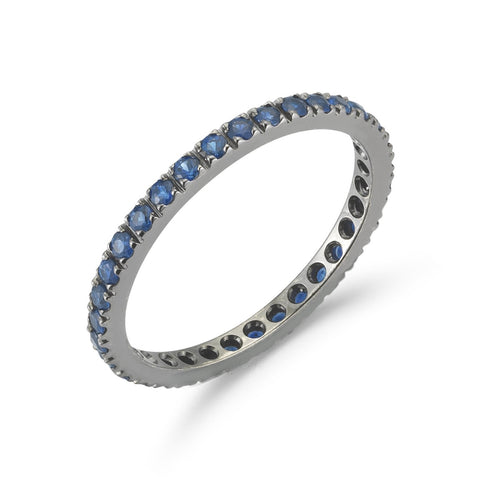"A & Furst ""France"" Eternity Band Ring with Blue Sapphires all around, French-set, 18k Blackened Gold."