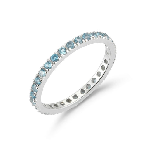 A & Furst - France Eternity Band Ring with Blue Topaz all around, French-set, 18k White Gold.