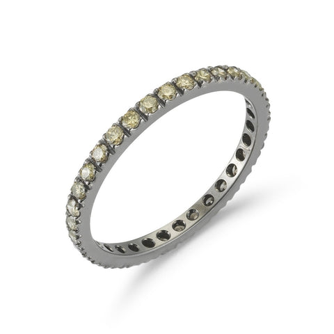 "A & Furst ""France"" Eternity Band Ring with Brown Diamonds all around, French-set, 18k Blackened Gold."