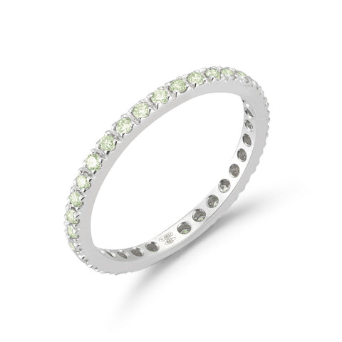 France Eternity Band Ring with Peridot, French-set, 18k White Gold