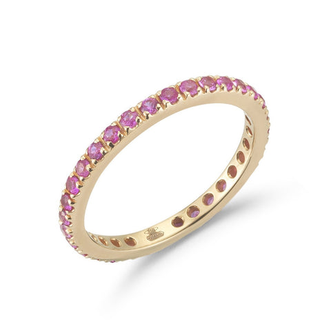 "A & Furst ""France"" Eternity Band Ring with Pink Sapphires all around, French-set, 18k Rose Gold."