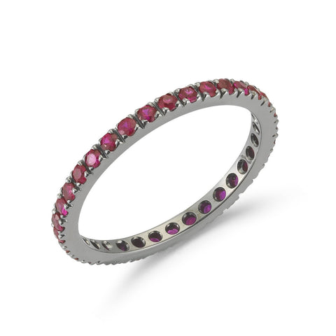 "A & Furst ""France"" Eternity Band Ring with Rubies all around, French-set, 18k Blackened Gold."