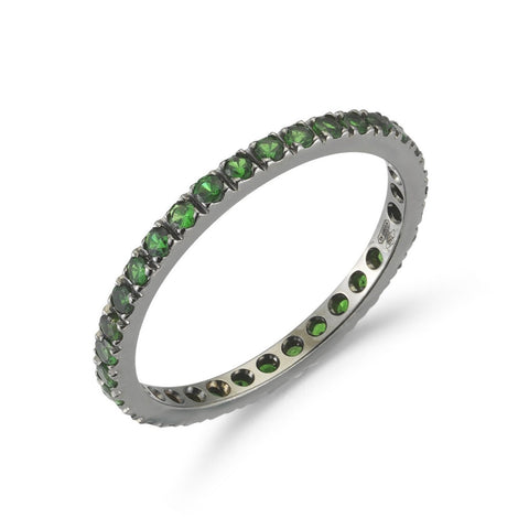A & Furst - France Eternity Band Ring with Tsavorite Garnet all around, French-set, 18k Blackened Gold.