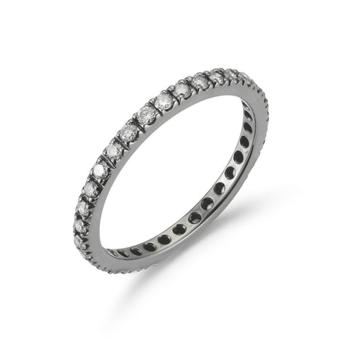 A & Furst - France Eternity Band Ring with White Diamonds all around, French-set, 18k Blackened Gold.