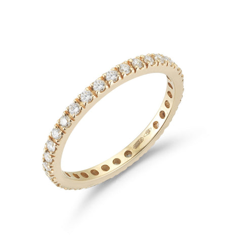 "A & Furst ""France"" Band Ring with White Diamonds on the 3/4, French-set, 18k Rose Gold"