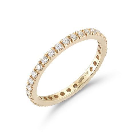 "A & Furst ""France"" Eternity Band Ring with White Diamonds all around, French-set, 18k Rose Gold."