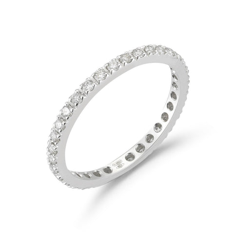 "A & Furst ""France"" Eternity Band Ring with White Diamonds all around, French-set, 18k White Gold."