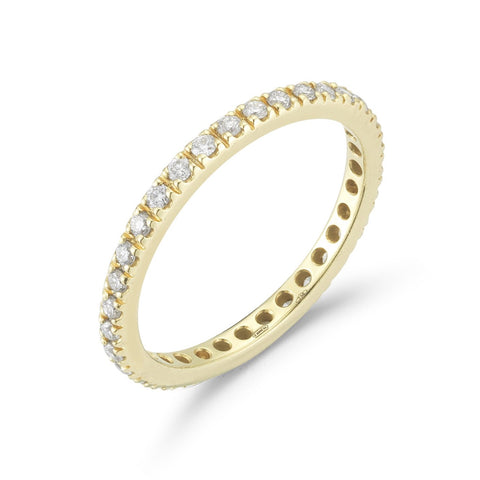 "A & Furst ""France"" Band Ring with White Diamonds on the 3/4, French-set, 18k Yellow Gold"