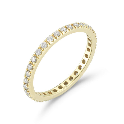 A & Furst - France Eternity Band Ring with White Diamonds all around, French-set, 18k Yellow Gold.