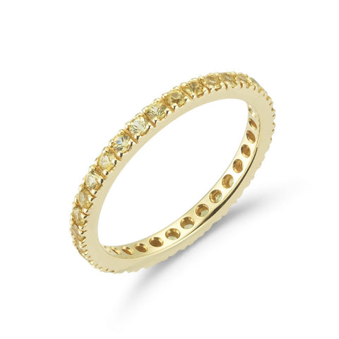 "A & Furst ""France"" Eternity Band Ring with Yellow Sapphires all around, French-set, 18k Yellow Gold."