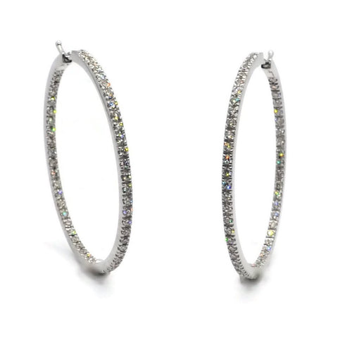 A & Furst - France Hoop Earrings with Diamonds, 18k White Gold. Diameter 40 mm