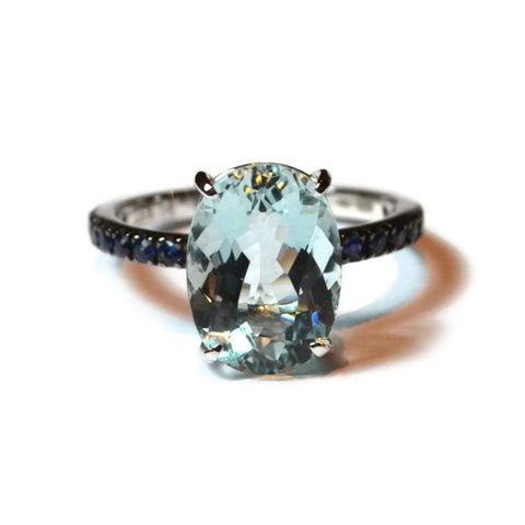 "A & Furst ""France"" Ring with Aquamarine and Blue Sapphires, 18k White Gold"