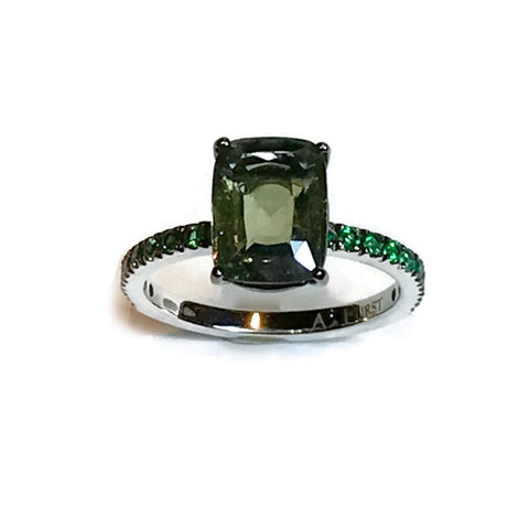 "A & Furst ""France"" Solitaire Ring with 1 Cushion Ceylon Green Sapphire and Emeralds, 18k Blackened Gold."