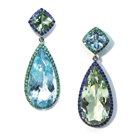 A & Furst - Dynamite - Drop Earrings with Blue Topaz and Emeralds, Prasiolite and Sapphires, Blackened gold