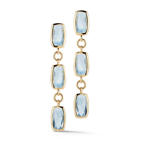A & Furst - Gaia Drop Earrings with Blue Topaz, 18k Yellow Gold