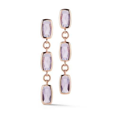 A & Furst - Gaia Drop Earrings with Rose de France, 18k Rose Gold