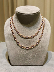 A & Furst - Gaia Long Necklace with Rose de France, 18k Rose Gold