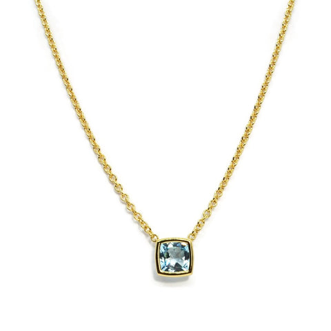 A & Furst - Gaia - Pendant Necklace with Blue Topaz,18k Yellow Gold