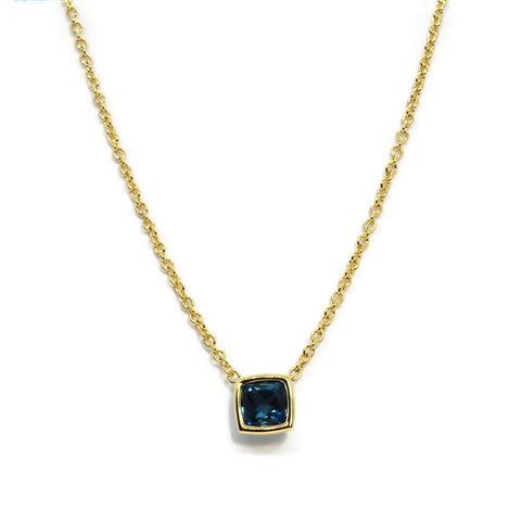 A & Furst - Gaia - Pendant Necklace with London Blue Topaz,18k Yellow Gold