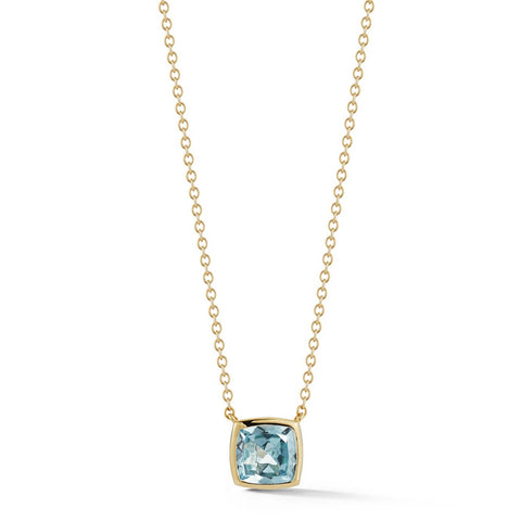 A & Furst - Gaia - Small Pendant Necklace with Sky Blue Topaz, 18k Yellow Gold