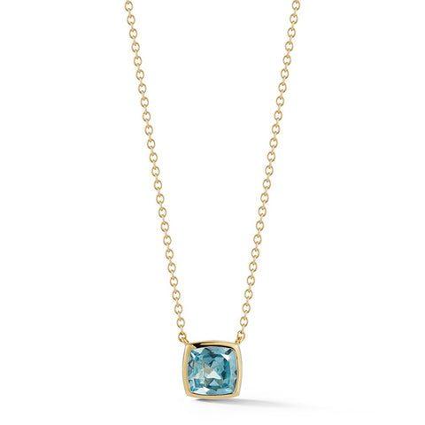 A & Furst - Gaia - Small Pendant Necklace with Blue Topaz, 18k Yellow Gold