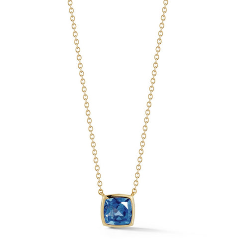 A & Furst - Gaia - Small Pendant Necklace with London Blue Topaz, 18k Yellow Gold