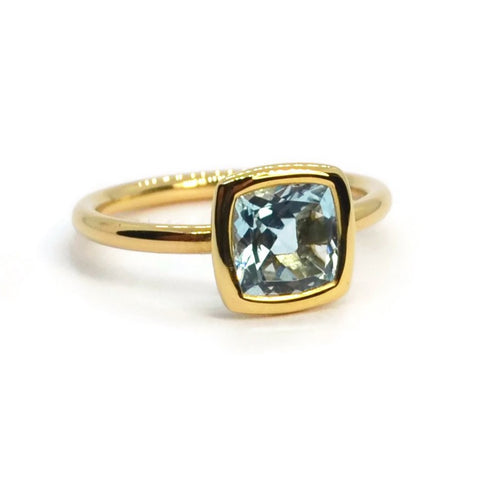 A & Furst Gaia Ring with Blue Topaz, 18k Yellow Gold