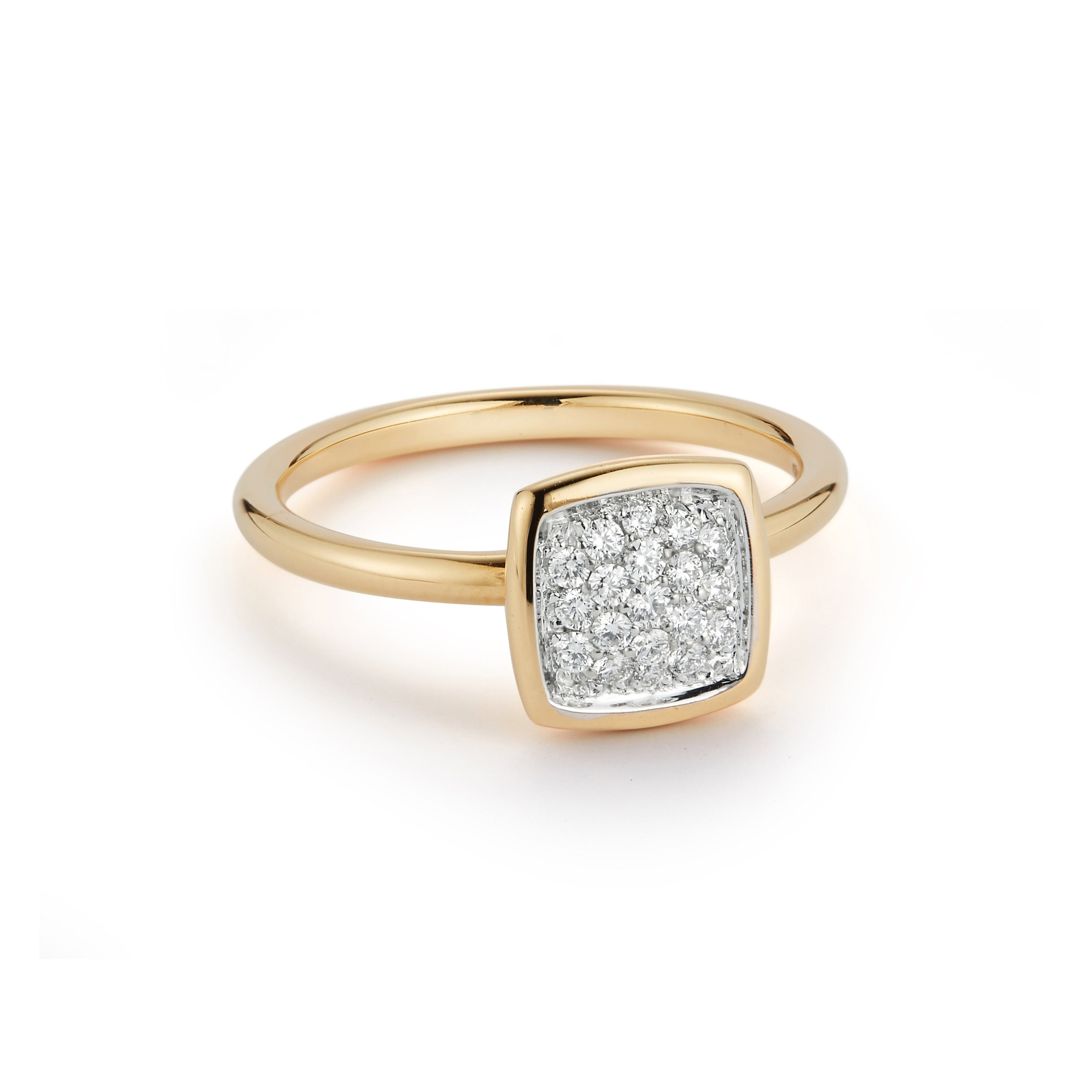 A & Furst - Gaia - XS Stackable Ring with Diamonds, 18k White and Yellow Gold