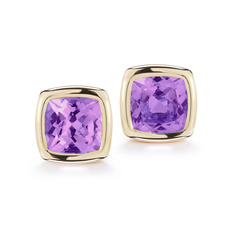 A & Furst - Gaia Stud Earrings with Amethyst, 18k Yellow Gold