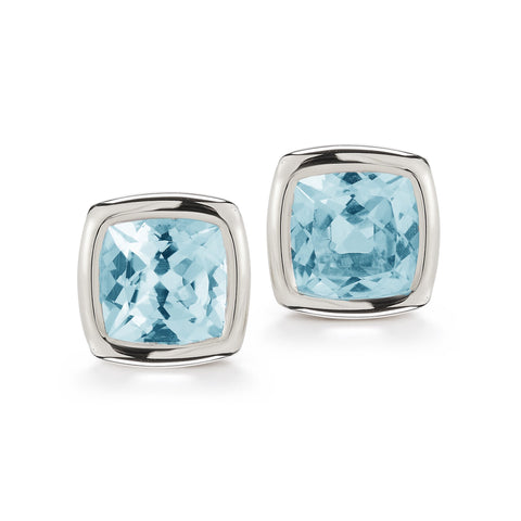 A & Furst - Gaia Stud Earrings with Blue Topaz, 18k White Gold