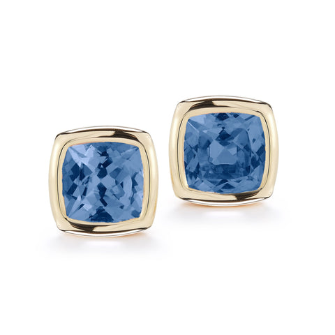 A & Furst - Gaia Stud Earrings with London Blue Topaz, 18k Yellow Gold