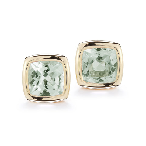 A & Furst - Gaia Stud Earrings with Prasiolite, 18k Yellow Gold