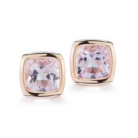 A & Furst - Gaia Stud Earrings with Rose de France, 18k Rose Gold