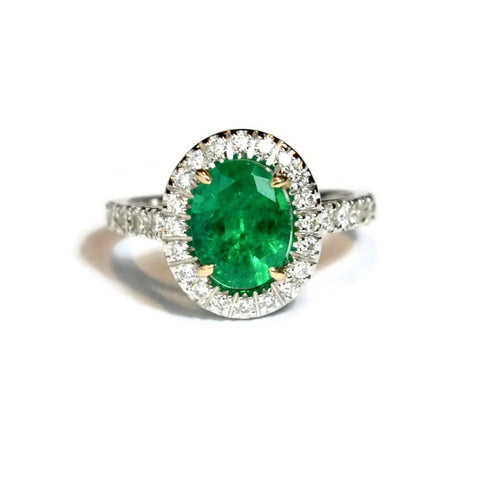"A & Furst ""Le Magnifique"" Ring with Emerald and Diamonds, 18k White Gold"