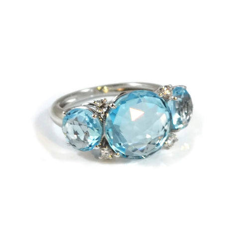 "A & Furst ""Lilies"" Trilogy Ring with Blue Topaz and Diamonds, 18k White Gold"